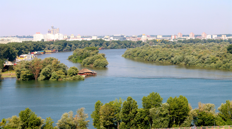 Drave River and Danuve River's confluence
