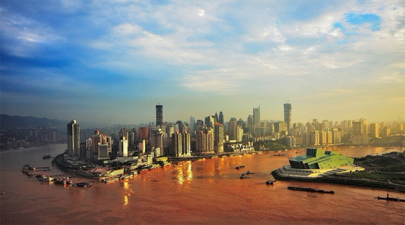 Jialing River and Yangtze River's confluence