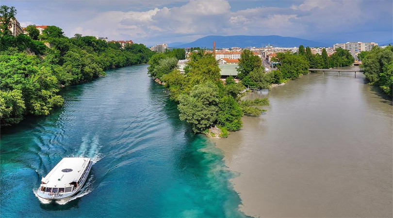 Rhone River and Arve River's confluence