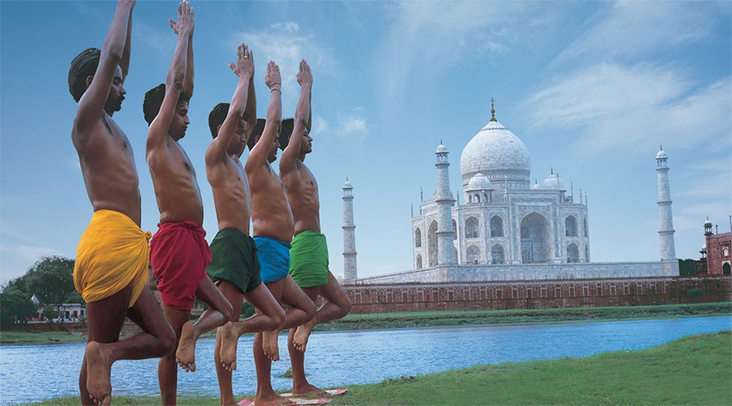 yoga facing the taj mahal